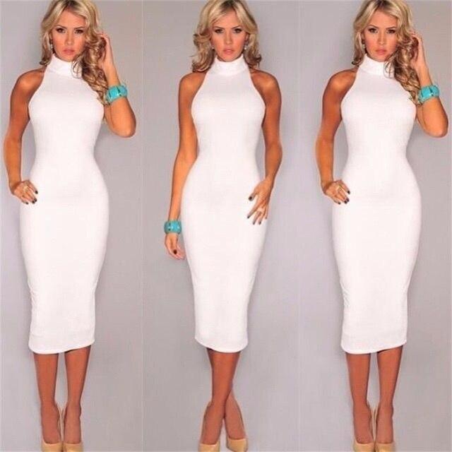 b30a16fdcae0 Women Summer Long Dresses Pure white Chinese-style collar sleeveless tight  dress and calves t shirt dress