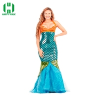 Adult Women New Dress Mermaid Costumes Halloween Cosplay Dress Romantic Beauty Dress Sea Maid Sexy Dress Woman Cosplay Polyester
