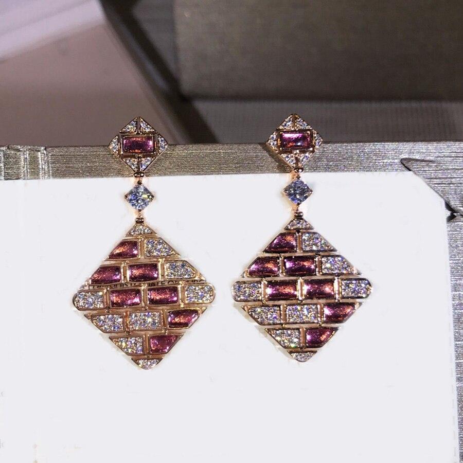 2019 marque cristal rose Long gland boucles d'oreilles charmes pierre naturelle Zircon Dangle boucles d'oreilles pour femmes Dubai haute couture Bijoux