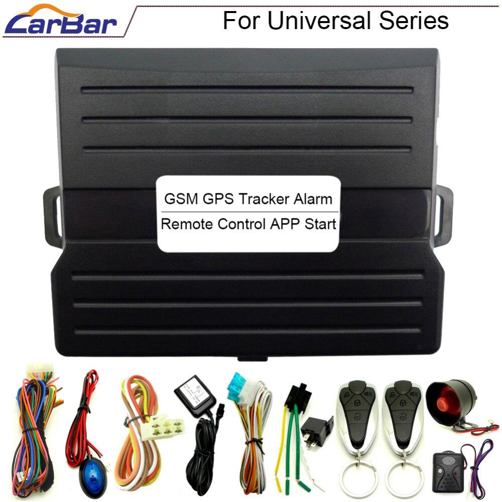 Système de sécurité d'alarme de voiture universel Android CARBAR IOS traqueur GPS GSM entrée sans clé verrouillage Central APP démarrage à distance