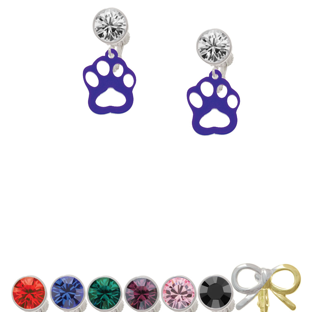 Acrylic Small Paw Purple Crystal Clip On Earrings