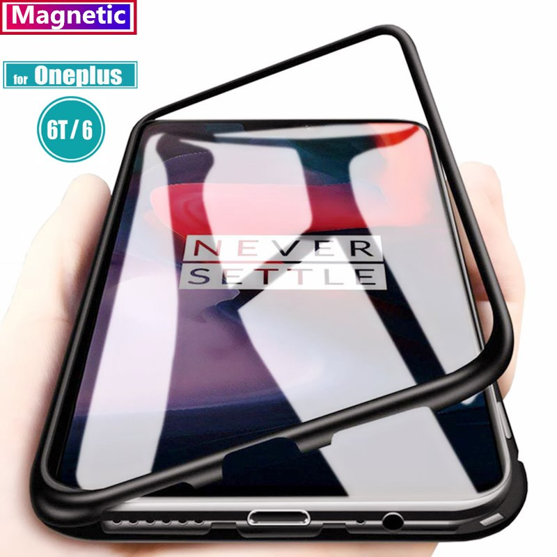 Magnetic Adsorption Phone Case for OnePlus 6T One Plus 6T Tempered Glass Back Cover Metal Cases For Oneplus 6 One Plus 6 1+6(China)
