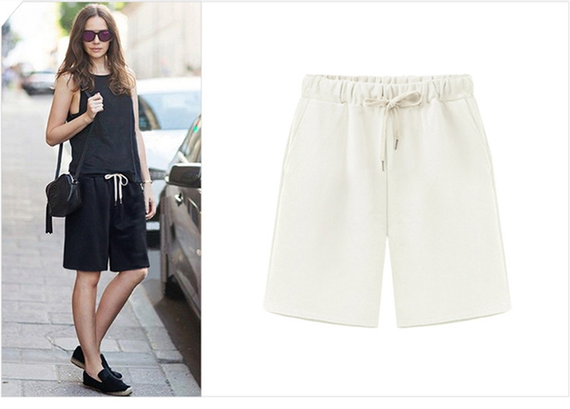 6 XL Plus Size Shorts Women Casual Loose Elastic Wasit Loose Summer Shorts Gray Black White OMW20 in Shorts from Women 39 s Clothing