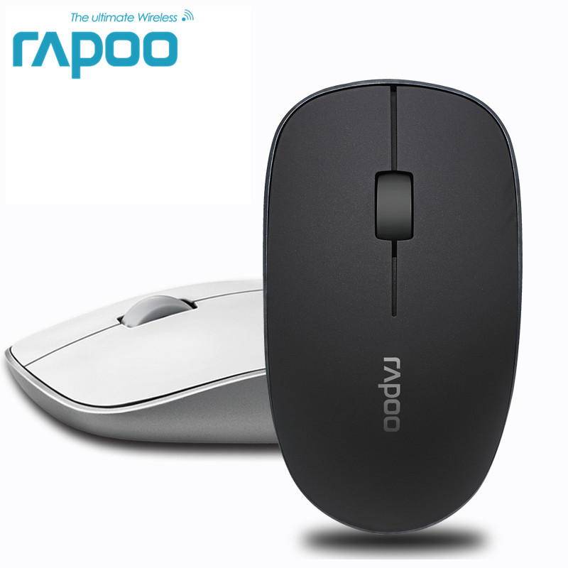 Original Rapoo Office Silent Wireless Optical Mouse Klicka Ljudfria Slim Mus 1000 DPI för Mac PC Laptop Computer Gamer