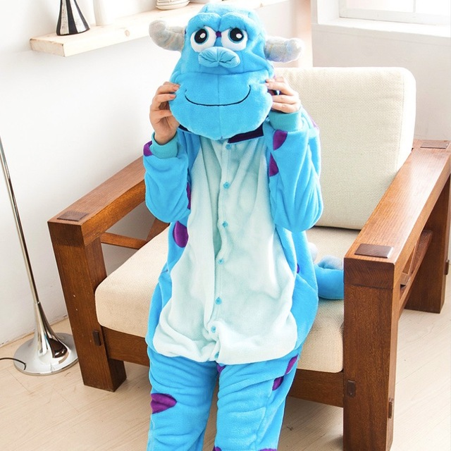 Blue Monster University Sulley Sullivan unisex adultos Onesies franela animal  pijamas traje de fiesta dibujos animados aa69975816d3