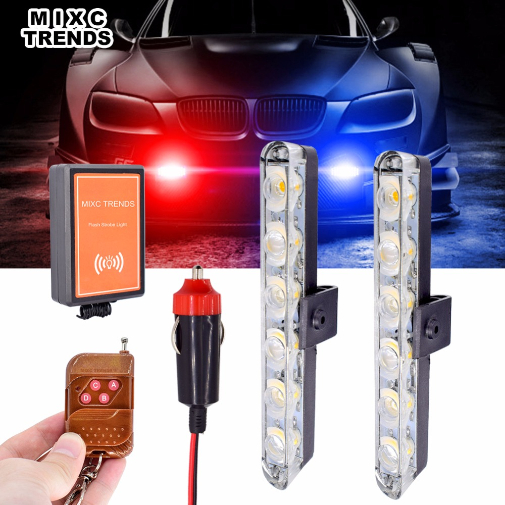 Amber Emergency Strobe Light Bar Remote Control Flashing LED Police Light Red Blue White For Truck Ambulance Car Lights Warning