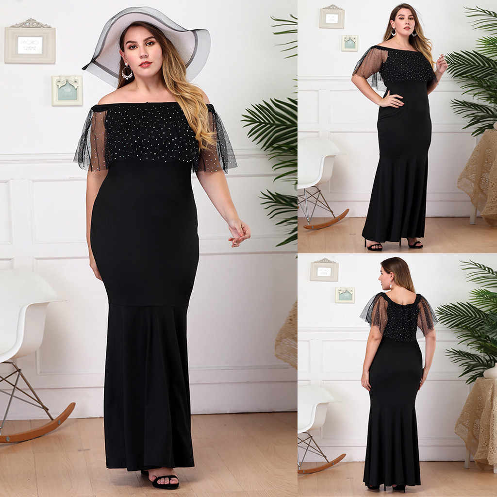 Feitong נשים בתוספת גודל טלאים סלאש צוואר שרוולים גבוהה שמלת robe soiree femmerobe ceremonie femme גבירות kleding