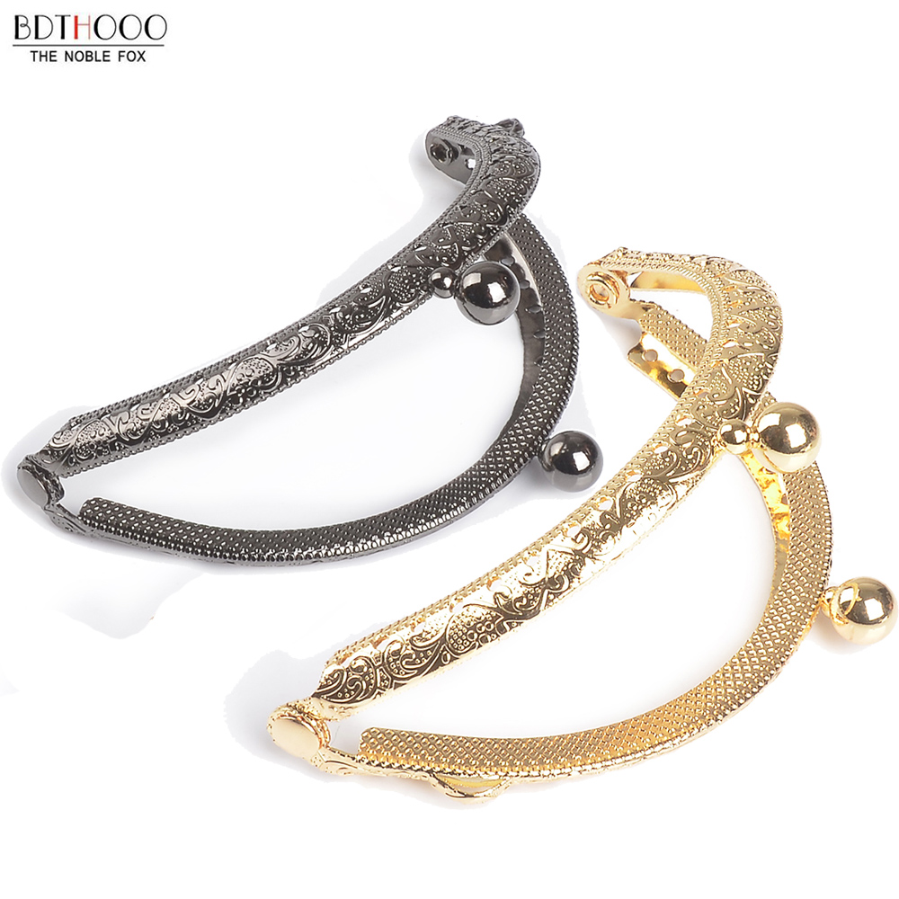 8.5cm Round Metal Purse Frame Handle For Clutch Bag Handbag Accessories Making Kiss Clasp Lock Antique Bronze Gold Bags Hardware