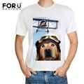 Forudesigns summer tops tees hombres/boy camiseta divertida impresión dog cat t shirt 3d animales moda delgado de manga corta camisetas del o-cuello