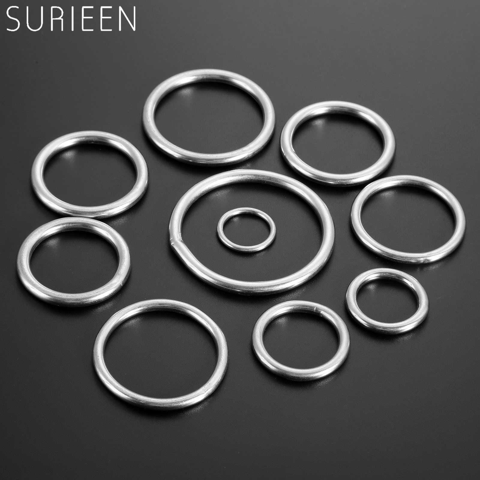 5pcs 20mm-60mm Smooth Welded Precision Polished 316 Stainless Steel Marine Boat Hardware Round O Rings Hammock Yoga Hanging Ring