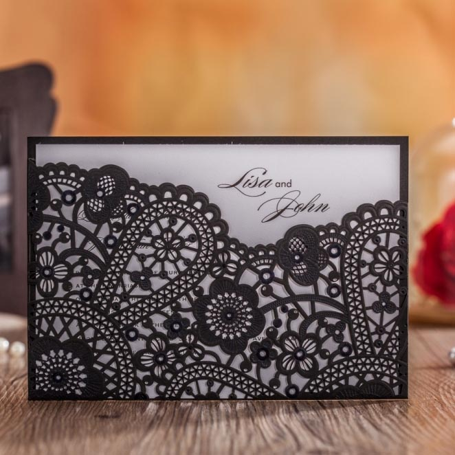Unique Black Laser Cut Wedding Invitations Hollow Birthday