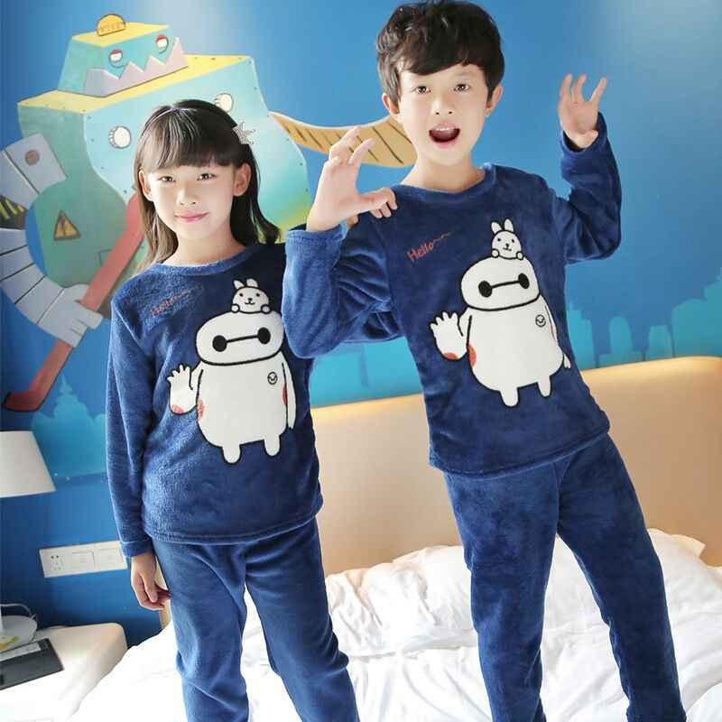 cdd4ffbdeb 2017 New Pajamas Set Baby Girls Boys Flannel Winter Thicken Cartoon Kids  Pyjamas Children Pajamas Sets