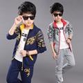 2016 Para 8 9 10 11 años niños Otoño dragón de china ropa de los niños fijó el algodón de la chaqueta + pantalones traje de deportes para niños conjuntos de ropa de niño