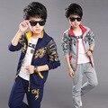 2016 Para 8 9 10 11 anos meninos Outono china dragão crianças jaqueta + calça terno dos esportes conjunto de roupas de algodão das crianças garoto roupas conjuntos