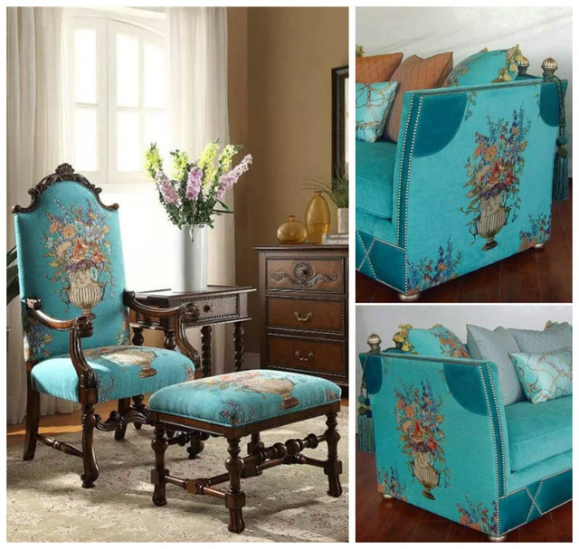 Captivating Luxurious American Style Floral Turquoise Bouquet Design Chenille Drapery  Curtain Sofa Upholstery Interior Fabrics 280cm Width