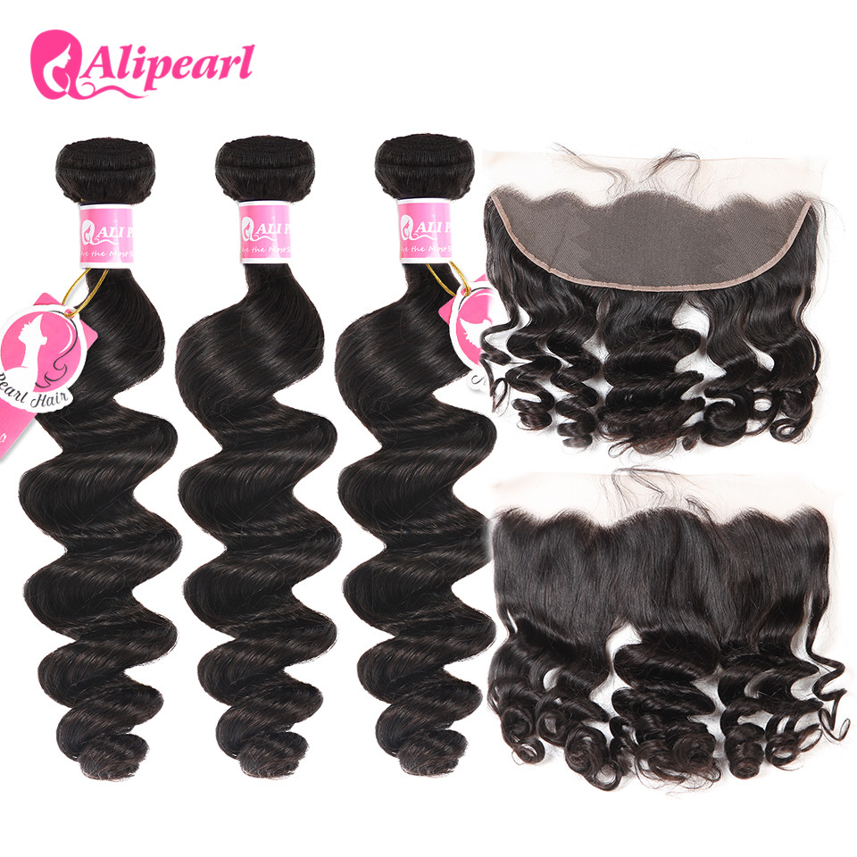 Alipearl Human Hair Loose Wave Bundles With Frontal Pre Plucked Peruvian Hair Weave Bundles 3pcs Natural Color Remy Hair Hair Extensions & Wigs 3/4 Bundles With Closure