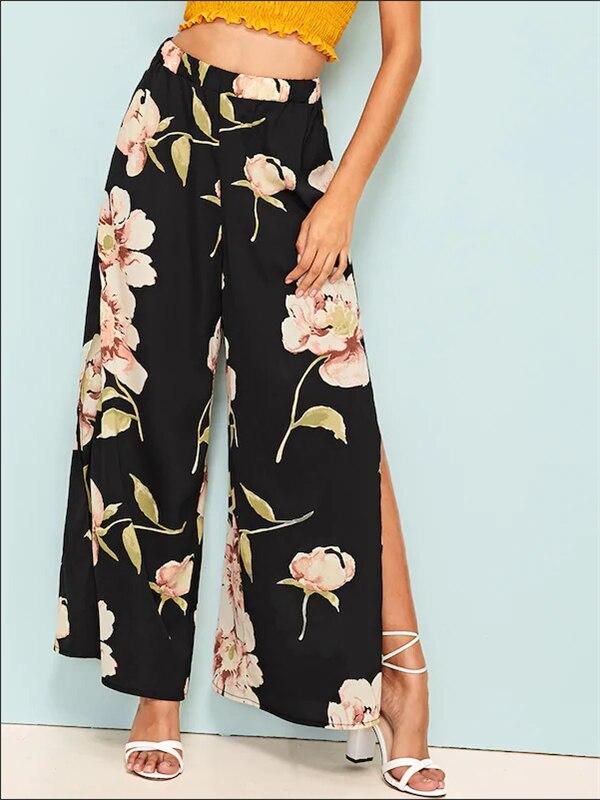 Women Boho Floral   Wide     Leg     Pants   Casual High Waist Loose Long Split Palazzo Trouser Elegant 2019 Vintage Summer Fashion Clothes