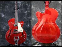 Starshine Hollow Body Electric Guitar YL JZ10 BB Bridge Jazz Electric Guitar Cream Pickguard Trans Red Color Chrome Hardware