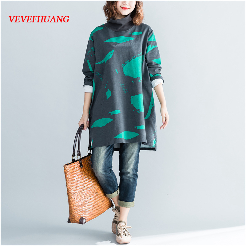 Spring Autumn New Women Fashion Elegant Graffiti Print Turtleneck Tops Lady Female Large Big Loose Stretch T-shirt Plus Size 4XL