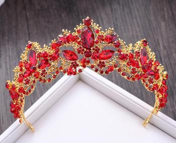 Baroque Luxury Crystal AB Bridal Crown Tiaras Light Gold Diadem Tiaras for Women Bride Wedding Hair Accessories 5