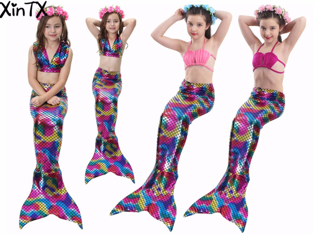 2017 Newest 4pcs Set Girls Swimsuit Swimming Child Kids Mermaid Tail with Monofin Fin Swimmable font