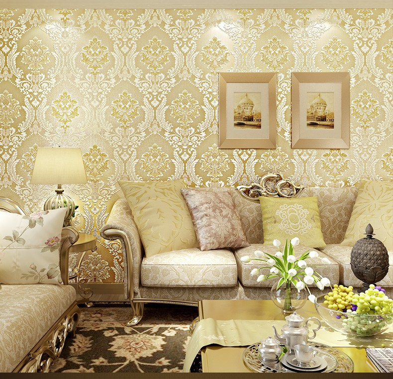 Italian style modern 3d embossed background wallpaper for for Silver wallpaper living room