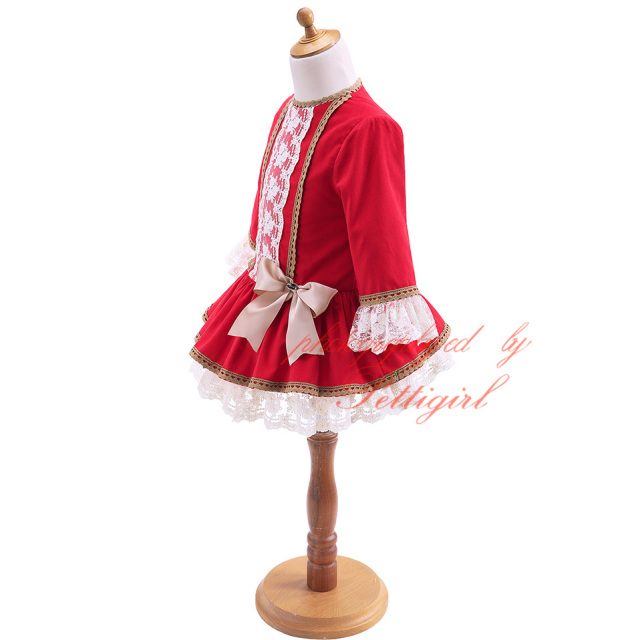 Red Girls Dress With Lace Headwear