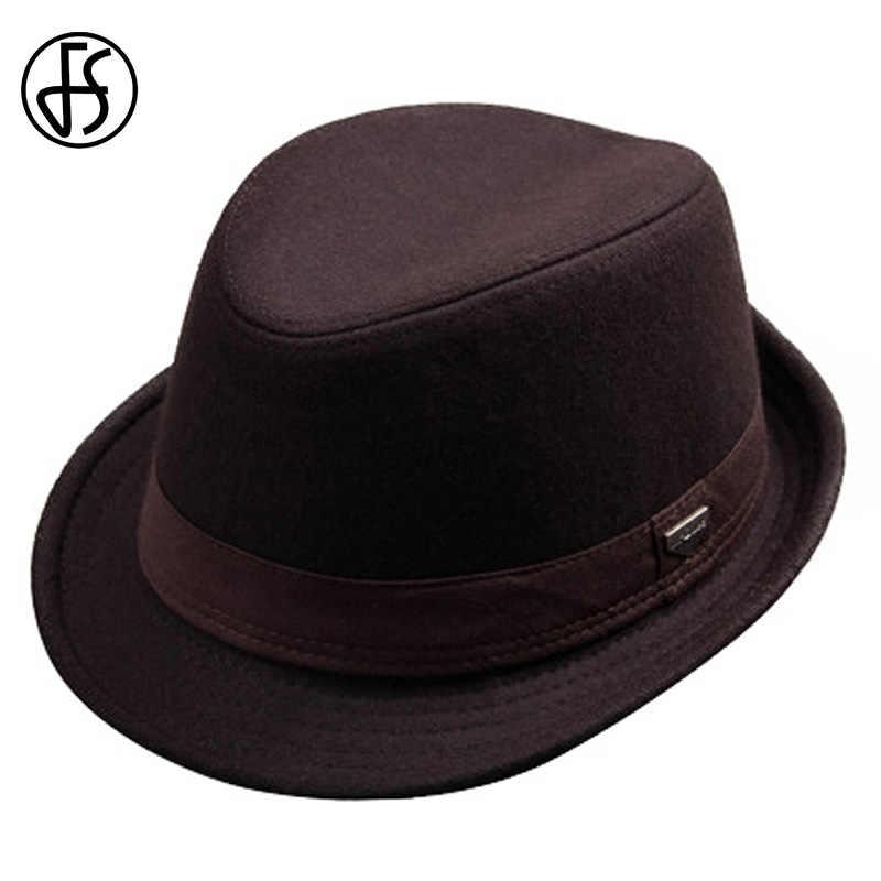 d4295b732f0de FS Retro Black Fedora For Men Wool Felt Trilby Hat Gentleman Wide Brim  Fashion Panama Jazz