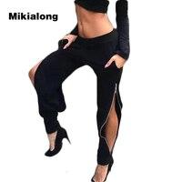 Mikialong 2017 Punk Rits Trainingsbroek Vrouwen Sexy Slit Elastische Hoge Waisted Zwarte Broek Pantalones Mujer Hip Hot Stijl Joggers