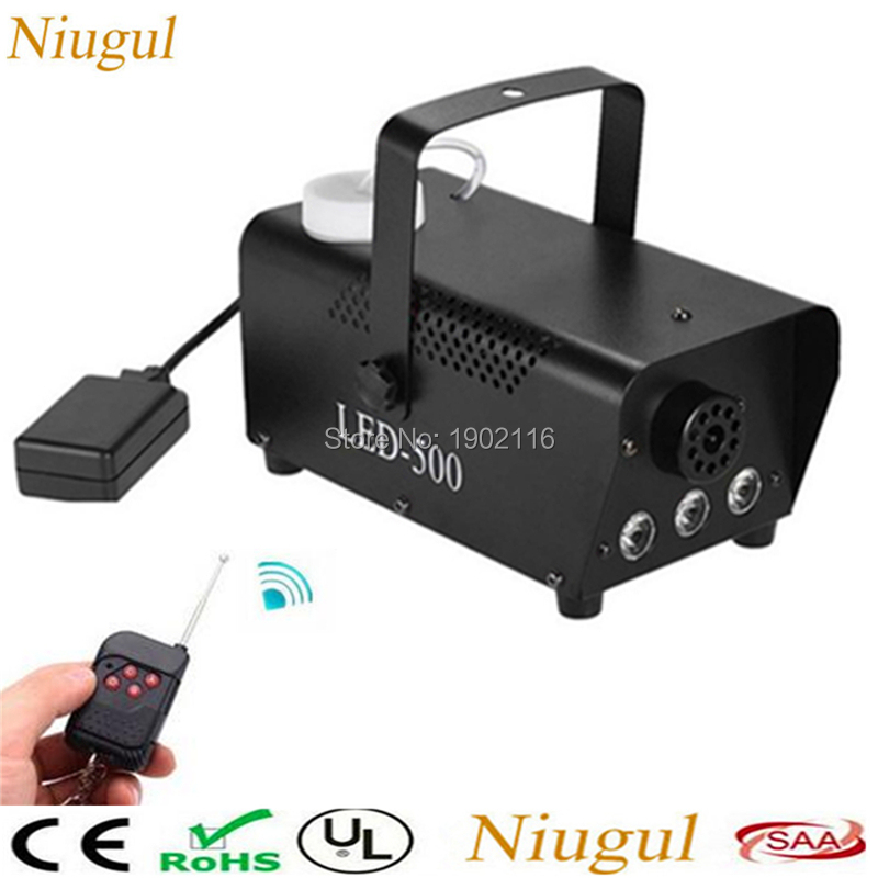 Best quality RGB LED Wireless Smoke Fog Machine 500W Stage Lighting Effect For DJ Disco Party Club Fogger with RGB LED lights co2 handhold cannon dj co2 gun for wedding party stage effect lights handhold stage co2 gun with 6meter hose