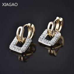 XIAGAO квадратная старинная Монета форма дизайн уникальные ювелирные изделия золото-цвет AAA CZ обруч серьги для женщин