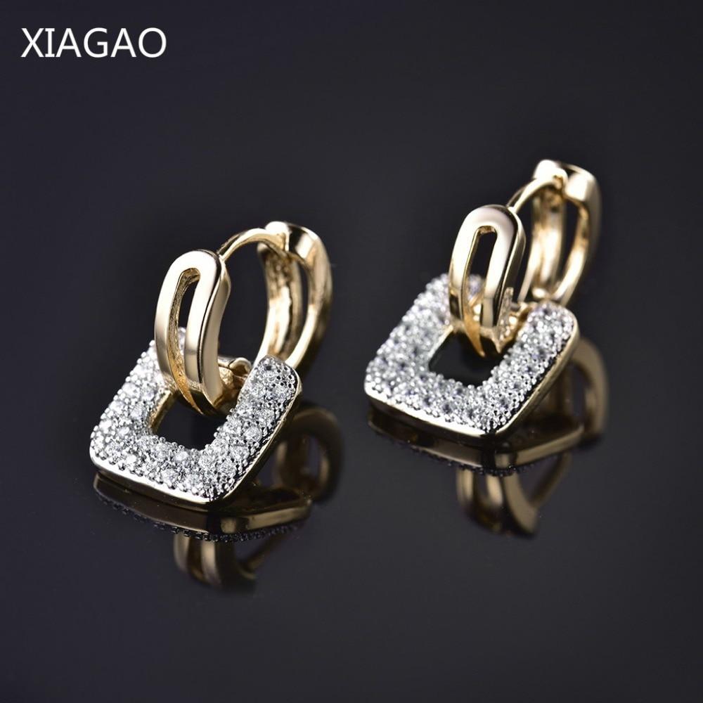 XIAGAO Square Ancient Coin Shape Design Unieke sieraden Goudkleurige AAA CZ verlovingsringen voor vrouwen