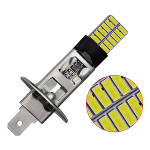 Image 5 - CARBINS 2X H1 H3 LED נורות סופר מואר 4014 24SMD רכב ערפל אורות 12V 6000K לבן נהיגה יום ריצה מנורת Nebbia רכב אות LED