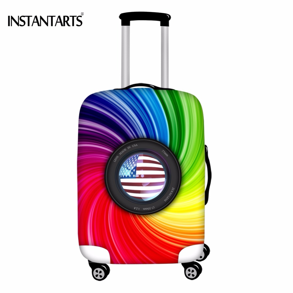 INSTANTARTS Rainbow Paisley Camera American Flag Print Luggage Thickened Protector Covers for18-30 Inch Suitcase Dust Rain Cover ...