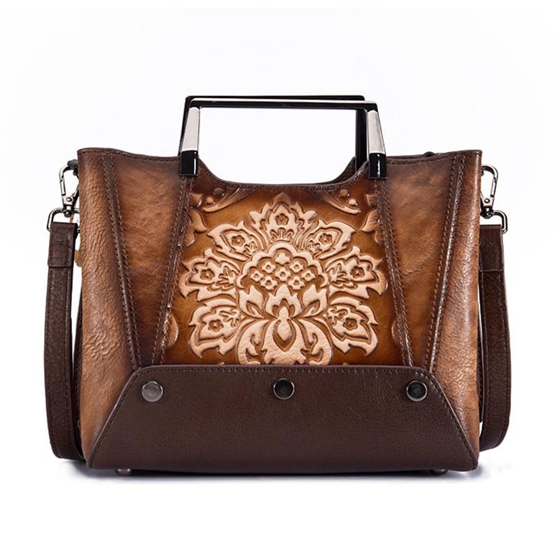 Genuine Leather Top Handle Women Bag National Style New Retro Tote Handbag Cowhide Cross Body Embossed