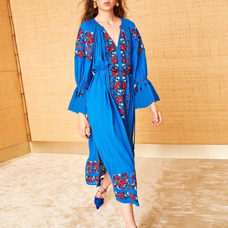 Vestito Scollo Estate Boho Maniche Ucraina Primavera Floral Nappa V Donne Sino Embroideried Abiti Blu 2019 Lunghe Folk Con Del A Allentato UU7rwq4v