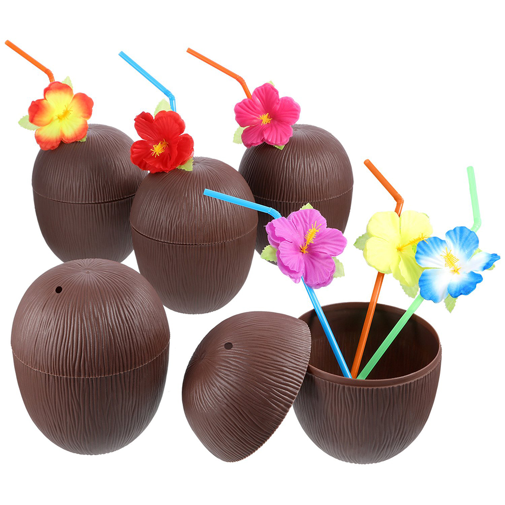 Plastic Hawaiian Beach Party Coconut Pineapple Drink Cup & Straw Decoration Drinking Straw For Wedding Party Birthday Decor
