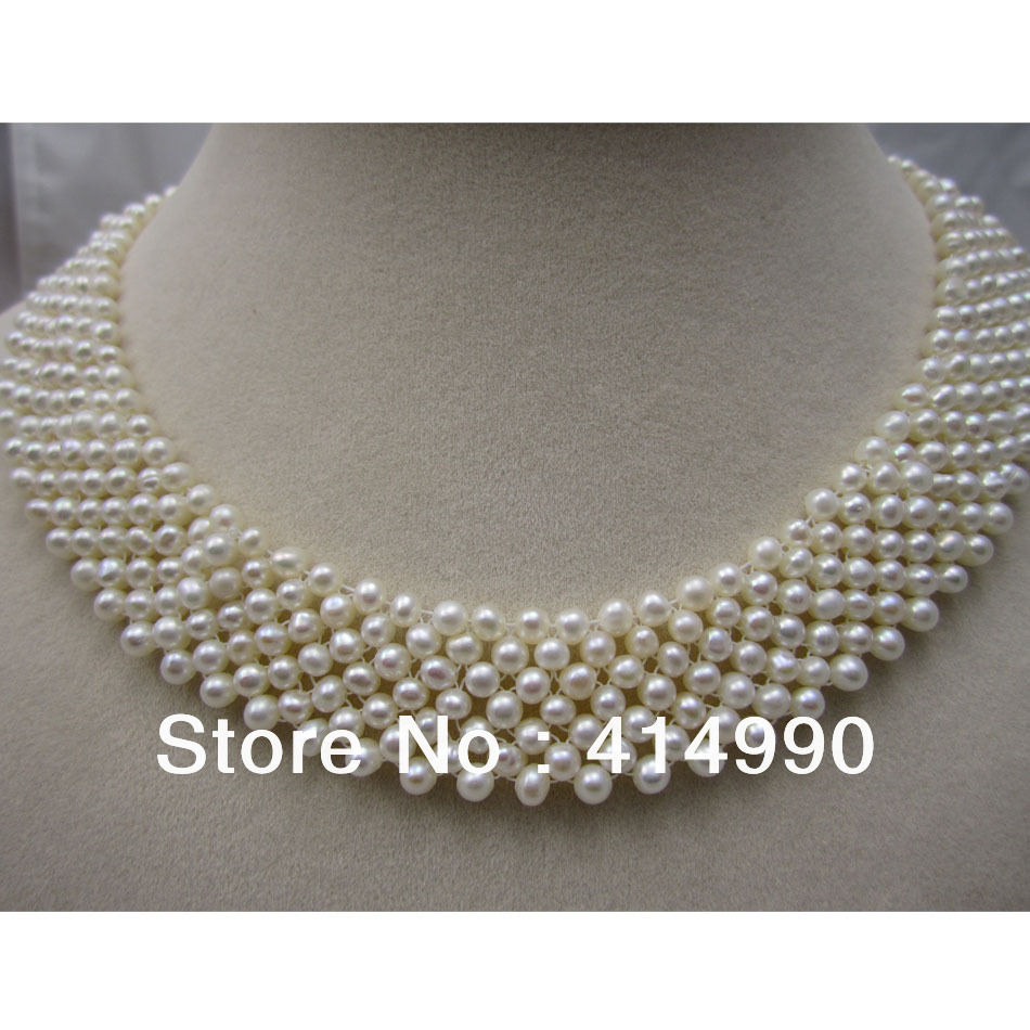 Free Shipping Natural Fresh Water Pearl Necklace Choker Necklace Woven Pearl Necklace Cultured Pearl Necklace Unique Design faux pearl rhinestone butterfly denim choker necklace