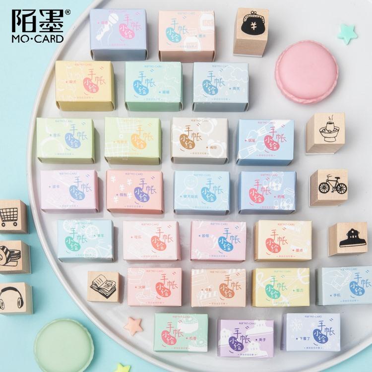 Cute Handbook Painting Series Mini Wood Stamp DIY Craft Wooden Rubber Stamps For Scrapbooking Stationery Scrapbooking