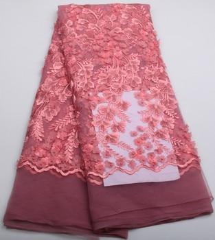 Latest Style Beaded Lace Fabric 2018 Fashion African Lace Fabric Tulle African French Lace Fabric High Quality 5 yard/lot