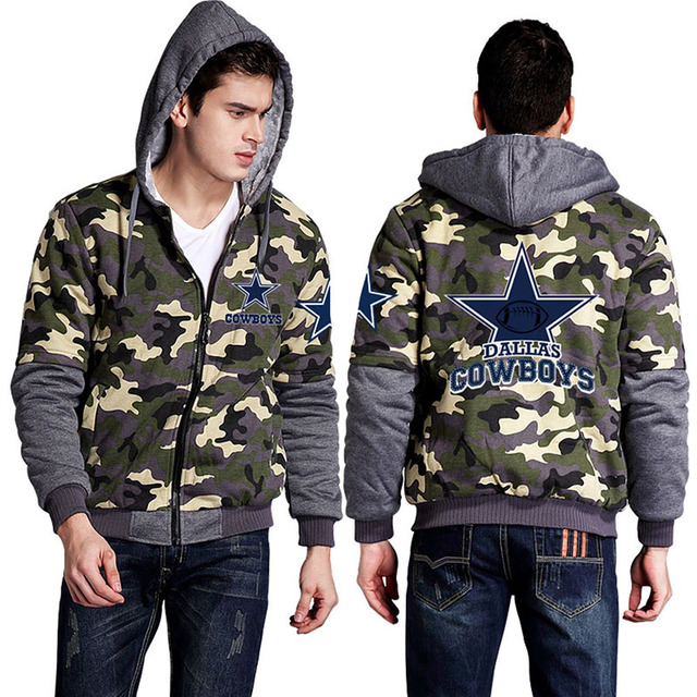 2016 Mens Camouflage hoodie Dallas Cowboys Grenn Bay Packers Forest Camou Thicken Fleece Coat