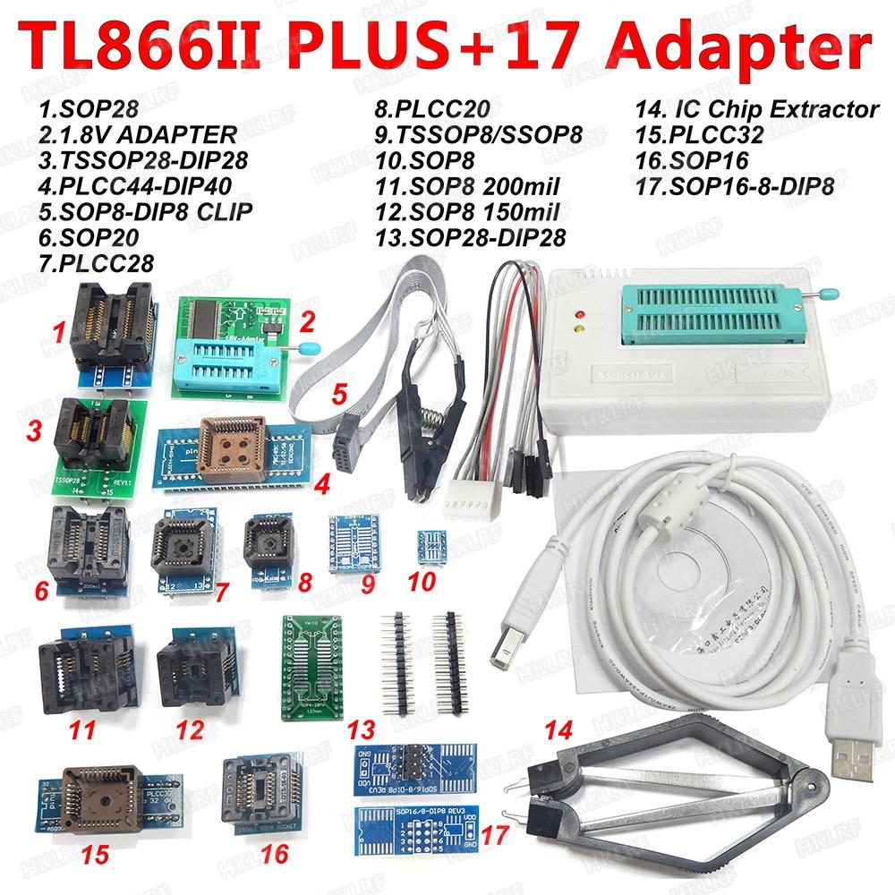 100 XGECU Original TL866II Plus Universal Programmer 17 Adapters SOP8 IC Clip High speed TL866 Flash