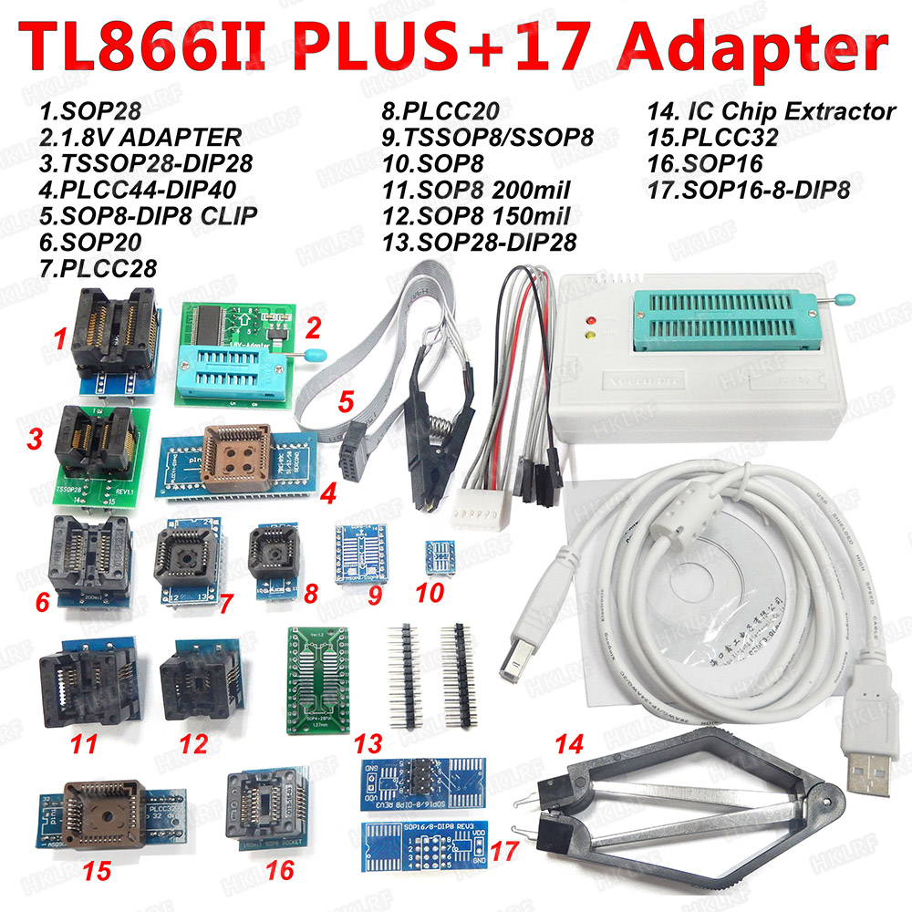 100% XGECU Original  TL866II Plus Universal Programmer+17 Adapters+SOP8 IC Clip  High speed TL866 Flash EPROM Programmer-in Integrated Circuits from Electronic Components & Supplies