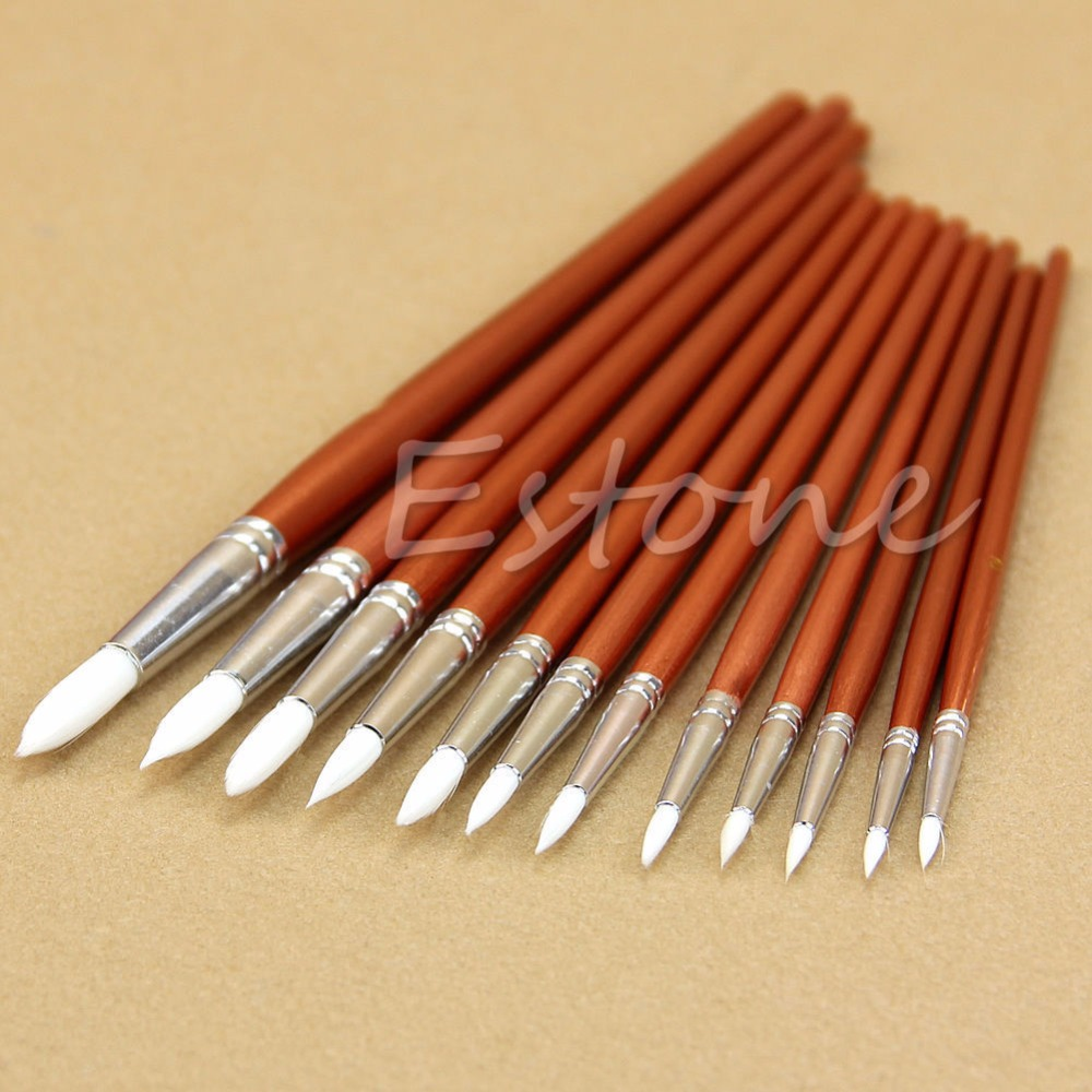 12pc Fine Red Pearl Wooden Paint Acrylic Watercolor Oil Painting Artists Brushes Nylon Hair Paint Brush For Watercolor Oil Paint