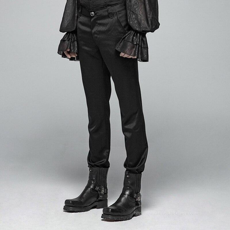 PUNK RAVE hommes noir gothique formel Simple Non extensible pantalon fête Club Performance broderie pantalon hommes Punk Streetwear-in Maigre Pantalon from Vêtements homme    2