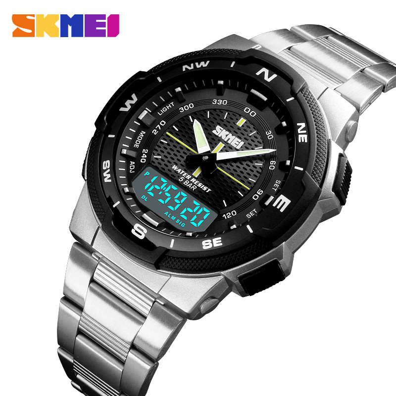 Sports Watches Top Brand Fashion Quartz Watches Men Steel Business Waterproof Led Digital Watch Male Clocks reloj hombre SKMEI men compass sports watches countdown digital led pedometer calories waterproof watch women male clocks reloj hombre 2018 skmei