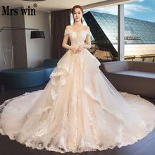 2020 جديد Mrs Win Vestido De Novias أنيق رقبة قارب الأميرة الفاخرة رداء دي ماري غراندي الذيل فساتين زفاف خمر F