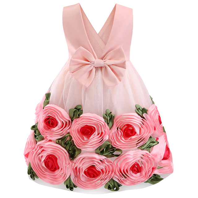 Baby Kids Flower Pretty Birthday Dresses Children Clothing Toddler Wedding Princess Dress Eveving Party Costume Clothes With Bow 6
