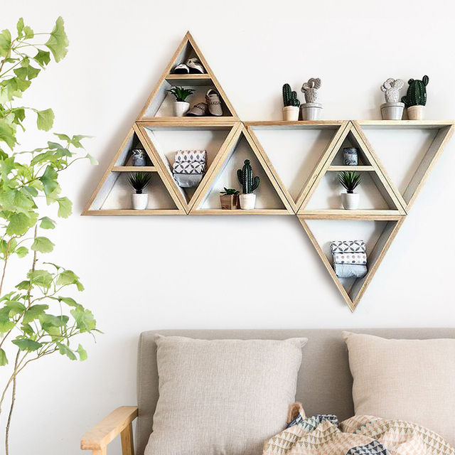 Nordic Wooden Wall Shelf for Kids Room