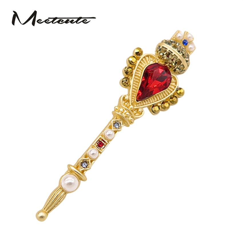 Meetcute Vintage Luxury Scepter Crown Broscher för kvinnors brosch Crown Crown Pins Badges Red Crystal Stone Golden Broche Smyckegåva